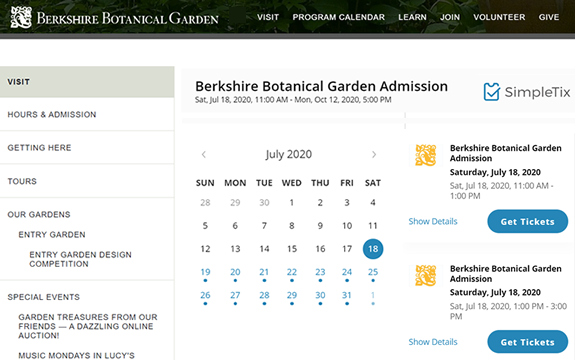 Square ticketing software for botanical gardens